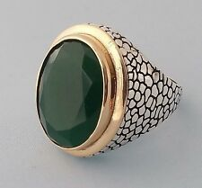 Turkish Faceted Ottoman Green Jade Gemstone Solid 925 Sterling Silver Mens Ring