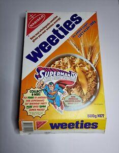Vintage Superman IV Australian Nabisco Weeties Cereal Box 1988 Rare