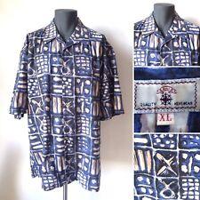 Vintage 1980s 1990s BHS Blue Graphic Pattern Short Sleeved Shirt Size XL XXL XXL