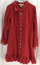 Osh Kosh Red Dress With A Western Flare & Floral Embellishments Girls Size 6X