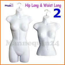 2 Mannequin Torso Female Set - 2 Pcs Hip Long & Waist Long Women Dress Body Form