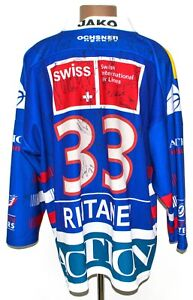 KLOTEN FLYERS SWITZERLAND ICE HOCKEY SHIRT MATCH WORN SIGNED XL RINTANEN #33