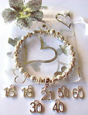 21st BIRTHDAY BRACELET SILVER PEARLS DIAMENTES AGE SILVER PLATED CHARM