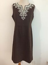Talbots Linen Sleeveless Sheath Dress Brown w/White Beads Applique´ Size 2