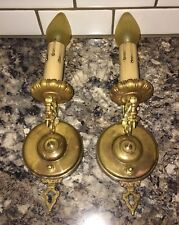 Wired Pair Antique Wall Sconce Fixtures Raw Brass Beautiful! 17D