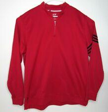 ADIDAS Mens Track Red Jacket Black Stripes Pull Over Quarter Zip Sweater XXL 2XL