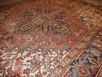 Antique Heriz Serapi Persian rug Fantastic estate carpet rare 6'4''x8'3'' Worn