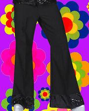 47 ✪ 70er Years Hippy Mens Batting Trousers Sequin Disco Glamrock Black 48 50