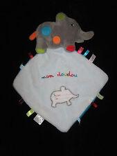 Mon Doudou Eléphant gris étiquettes Nicotoy Simba mouchoir carré plat blanc bleu