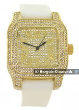 manly big gold tone square CZ ice out case dial watch white strap clubbing