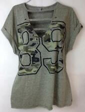 Lovesick goth camo green cut out v cleavage #89 sexy shirt top 3 , 3X