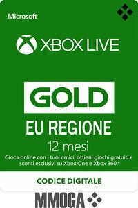 Xbox Live Gold Abbonamento 12 Mesi - 1 anno Microsoft Xbox One Xbox 360 - ITA