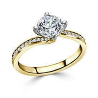 14K Yellow Gold Round VVS1 1.20 Ct Diamond Engagement Solitaire Ring Size N M H
