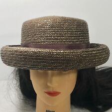 fd2050d21c349 Liz Claiborne Brown Straw Hat Rolled Brim Womans RN 70272 Vintage