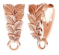 1 STERLING SILVER 925 PENDANT BAIL + LEAF DESIGN, & CLOSED RING, ROSE GOLD 12 MM