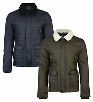 Threadbare New Mens Ringo Faux Fur Collar Quilted Jacket Quilt Fashion Coat