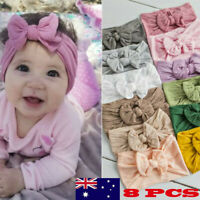 8PCS New Girls Baby Toddler Solid Headband Hair Band Bow Accessories Headwear