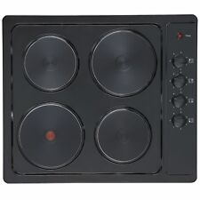 Cookology SEP600BK 4 Zone 60cm Solid Plate Electric Hob in Black Enamel
