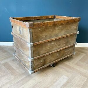 Antique Industrial Storage Cart Trolley Log Basket Crate On Cast Iron Wheels Box