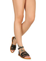 Women Strappy Band Ankle Strap Open Toe Flat Sandal 18857