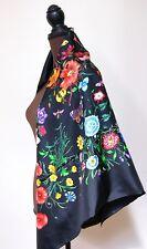 New AUTHENTIC Gucci Black Flora Multicolor Silk Square Scarf