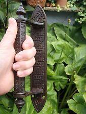 Antique Gothique Victorien jc&s Cast Laiton Poignées de porte magasin tire église