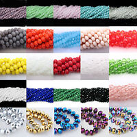 Lots 4/6/8/10MM Colorful Czech Crystal Glass Rondelle Faceted Loose Spacer Beads