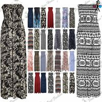 Womens Army Floral Print Gathered Boobtube Ladies Bandeau Sheering Maxi Dress