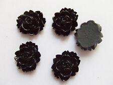 4pz abbellimenti FIORE CABOCHON in resina Scrapbooking 18x14mm  nero
