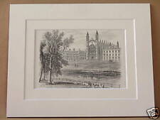 KINGS COLLEGE CAMBRIDGE ANTIQUE DOUBLE MOUNTED ENGRAVING FROM c1890 PUBLICATION