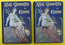ATLAS GEOGRAFICO IBERO-AMERICANO ESPANA,2 BÄNDE,TEXT & ATLAS,1900,RAR