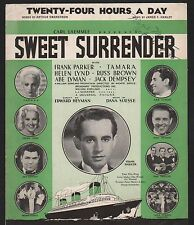 Twenty-Four Hours A Day 1935 Jack Dempsey in Sweet Surrender Sheet Music
