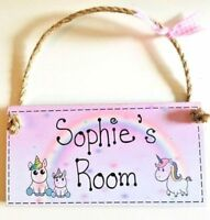UNICORN NAME DOOR SIGN for GIRL'S ROOM / new baby plaque gift (ANY TEXT) NURSERY