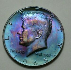 1965-P KENNEDY HALF DOLLAR  50c Toned Silver COIN, No Reserve Price! .
