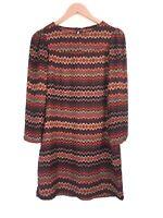 Zara Woman Dress Red Zigzag Chevron Print Shift (Modified - Fringe Removed) S 8