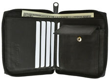 Black Bifold Leather Men's Hipster Wallet Zip Around Coin Holder European