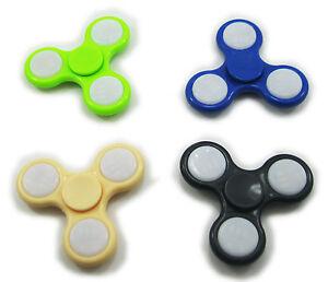 LED Light-UP Flash Tri-LED Finger Hand Spinner w/ switch Toy Gift Random color