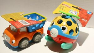 Nuby Play Pals Orange Truck and Helicopter Baby Infant Rattle Toys 3m+