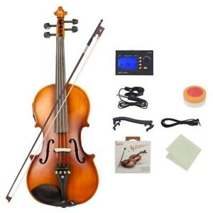 4/4 Full Size Acoustic EQ Violin Fiddle with Bow Rosin Hard Case Matte