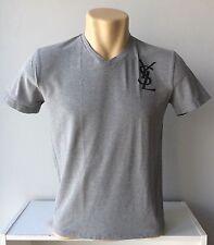 YVES SAINT LAURENT T Shirt - GRAY Soft Thin Tee V-Neck Short Sleeve YSL Logo - M