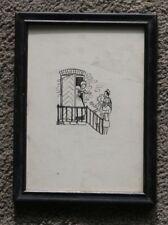 "Original Vintage Antique Pen & Ink Drawing Illustration 2x3"" Young Girl People"