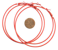 10PCS Huge Red Color Circle Earwires Hoops-71mm - Wholesale Price