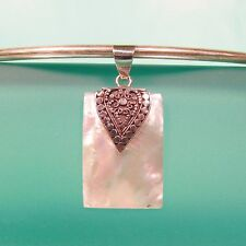 """1 1/4"""" Rectangle Mother of Pearl Shell 925 Sterling Silver Handmade Pendant"""