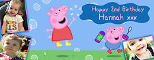 Peppa Pig PERSONALISED PARTY BANNER Birthday, Christening - upto 6 PHOTOS