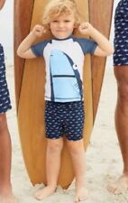 Bnwt Next Navy Shark Swim Shorts And Vest Two Piece Set 2-3 years