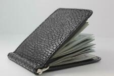 Handmade Genuine Black Beaver Tail Leather Money Clip Wallet (Made in the USA)
