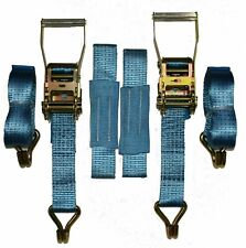 2 x 4mtr Blue Recovery Strap (Standard Handles Soft Ring) Trailer Transporter