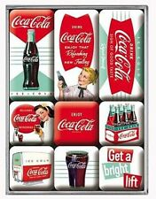 Retro 9 pc Magnet Set COCA COLA - ICE COLD Vintage Images Green White Licensed