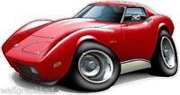 1973-76 Chevy Corvette L48 350 Turbo Fire Cartoon Graphic Wall Decal Home Decor