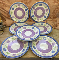 "7 GIBSON EVERYDAY CHINA 10 3/4"" DINNER PLATES FLORAL PURPLE BLUE BELLA Mix&Match"